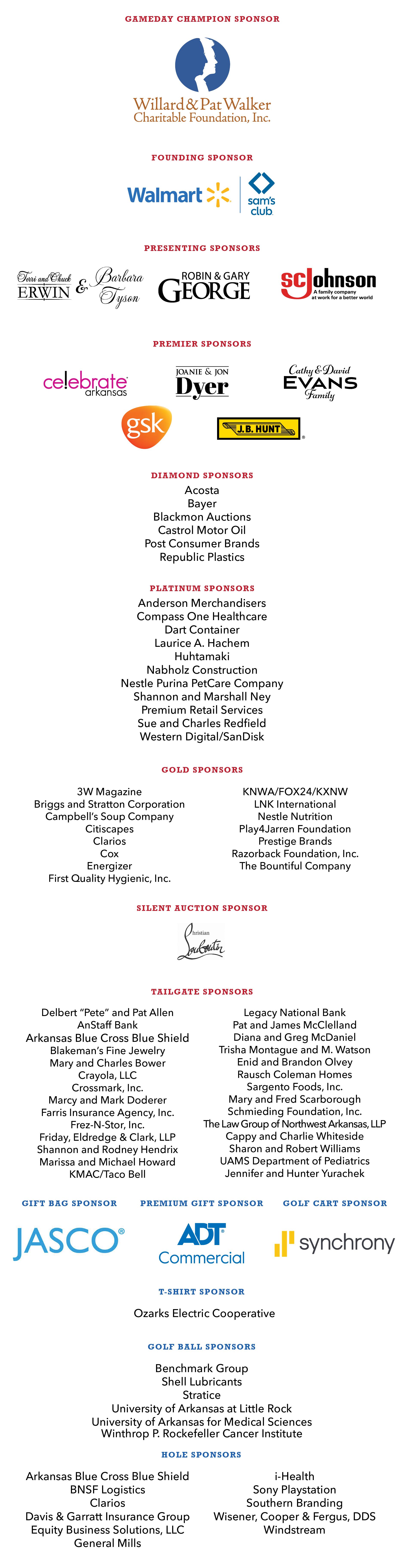 Gameday & Founding Sponsors